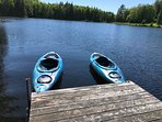 Kayaks and paddle boards available for our guests