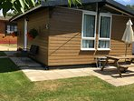 Alberta Lodge.  Small lodge sleeping 3 in 2 bedrooms. Awarded 3 Star Gold Award by Visit England.