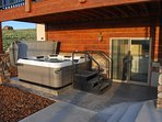 Soak your cares away in the 8-person outdoor hot tub.