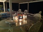 Evening on the deck -- dining, entertaining or simply enjoying the lush  Caribbean breezes.