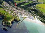 THE RED ARROW SHOWS OUR LOCATION IN PORTREATH VILLAGE WHICH IS SURROUNDED BY NATIONAL TRUST COUNTRY