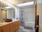 Top floor bathroom with double sinks