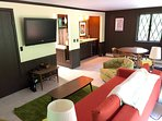King suite on first floor with bedroom, living room and full bath