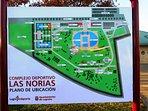 Aquí, un mapa del complejo de deportes de Logroño.