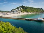 Looe's wide sandy beach and Banjo Pier, location for the Looe Music Festival every September.