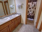 Master bathroom with tub/shower combo.