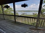 View from open air deck towards the dock/marsh/river