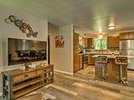 Wood furnishings fill the interior.