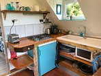 Kitchen, combi microwave, 4 hob, fridge, coffee maker, kettle , toaster