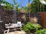 Shower under the stars in private garden courtyard