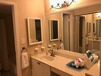 Master vanity area.  We provide full size shampoo, conditioner and soap.