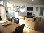 The lodge has a bright and modern open plan lounge.