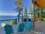 Panoramic lake and mountain views off of the elevated deck