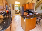kitchen with stainless steel appliances and fully equipped.
