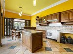 The kitchen surrounds the pool, great place to entertain friends and family