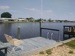 Wide salt water views. Watch dolphin, manatees, rays, fish and crabs from your private dock
