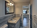 Get ready for bed in this spacious bathroom.