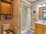 An en-suite bath makes routines a breeze.