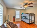 Your kids will like the twin-over-twin bunk bed in the third room.