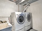 A front-load washer and dryer are provided for your convenience.