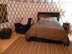 Inside Bob cat yurt