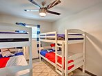 With 2 twin-over-twin bunk beds, the second bedroom sleeps 4.