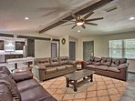 The home boasts vaulted ceilings and abundant natural light.