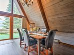 The floor-to-ceiling windows provide crisp views of the surrounding forest!