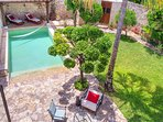 Aerial view of Garden, Pool & Sitting area. Note: This is not a perspective for guests.