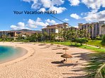 The Beach Villas at Ko Olina are located on an oceanfront lagoon.
