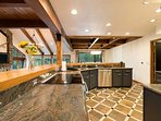 Enjoy an electric stove and plenty of counter space for preparing and cooking large meals.