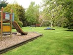 Lots do do in the garden, swings, climbing frame with slide and sand pit.