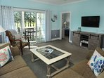 Enjoy the golf course view and watch TV or movies at the same time! We have several dvds in condo.