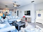 Unwind and watch your favorite shows on the flat-screen TV.