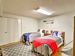 The fifth bedroom has a twin-over-twin bunk bed and 4 other twin beds.