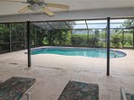 View of pool from covered lanai.