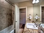 There's even a full bathroom with shower/tub combo.