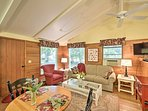 Beamed vaulted ceilings make this room feel bright & airy.