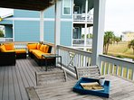 Beautiful decks provide views of lake with water feature & Galveston Bay in the distance
