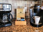 Traditional Coffeepot as well as a Keurig. Just bring your favorite coffee!
