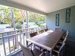 Veranda with outdoor dining setting