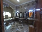 Rich marble floors and soaking tub