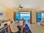 Dining room area with its view and mini bar.