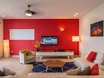 The cozy living room with 48' high definition TV, Netflix and satellite channels