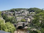 Unique and stunning views of Heden Bridge and the River Hebden form the roof-top terrace