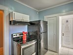 Utilize the stainless steel appliances to prepare dinner.
