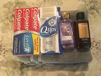 Offer toothpaste , shampoo, body wash and Q tip