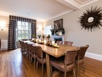 Sumptuous leather chairs and a bespoke table great for feasts, family celebrations and