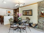 Enjoy games and meals at the dining table that seats 4-6 guests.