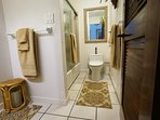 Lower (entry) level bath with tub/shower combination and full size laundry pair.